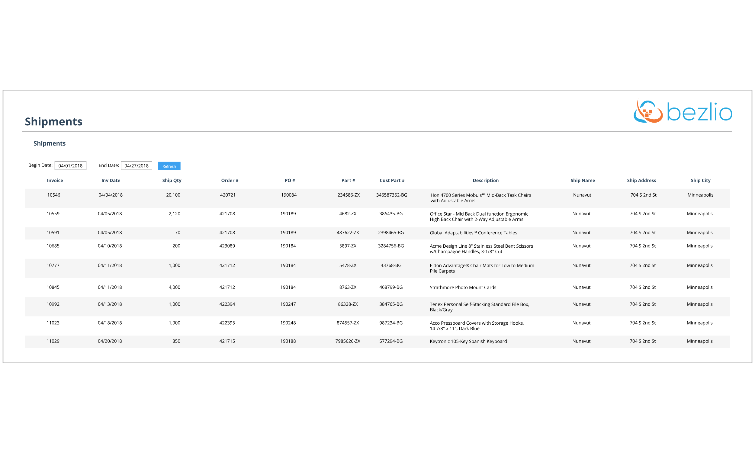 Screenshot from Bezlio's self-service customer portal screens that handle shipments. Allow customers to look up shipment records in real-time, straight from your on-premise database!