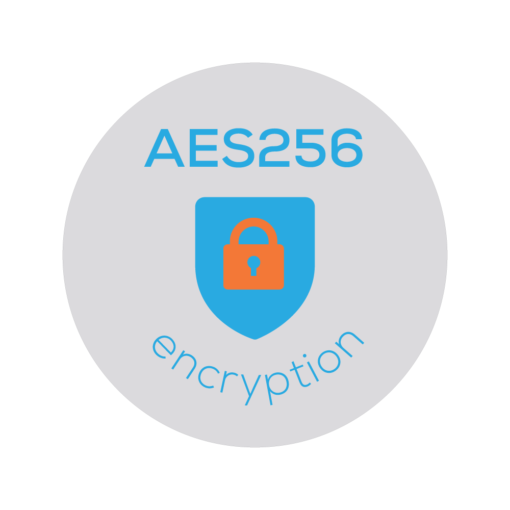 Badge of a lock icon that represents Bezlio's ablity to transmit on-premise data to mobile users with AES-256 level encryption