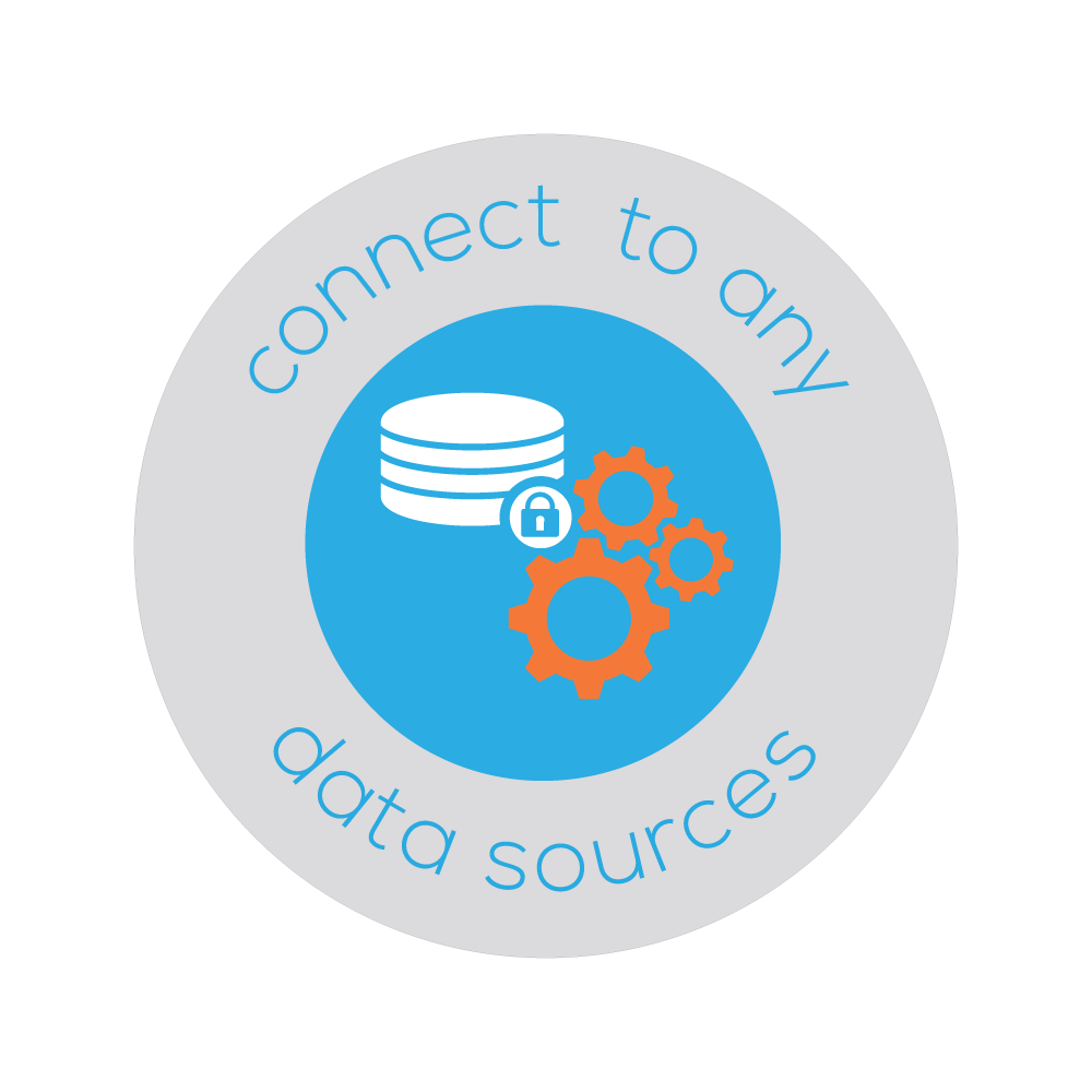 Badge of a database and gears that represent Bezlio's ability to conenct to any data source, even on-premise systems, and provide mobile accessibility and real-time read+write capabilities.