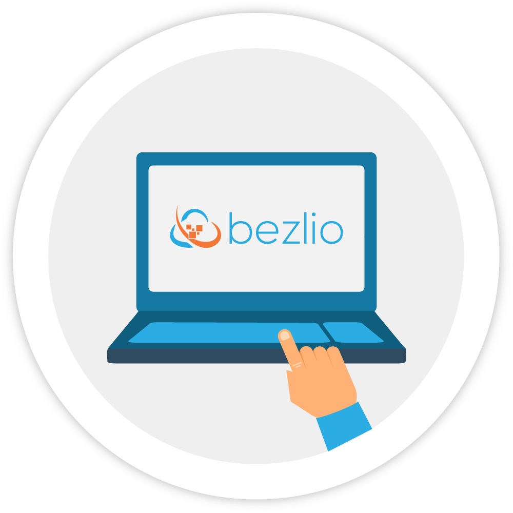 Illustration of a laptop computer with the Bezlio logo and a finger pointing to it.