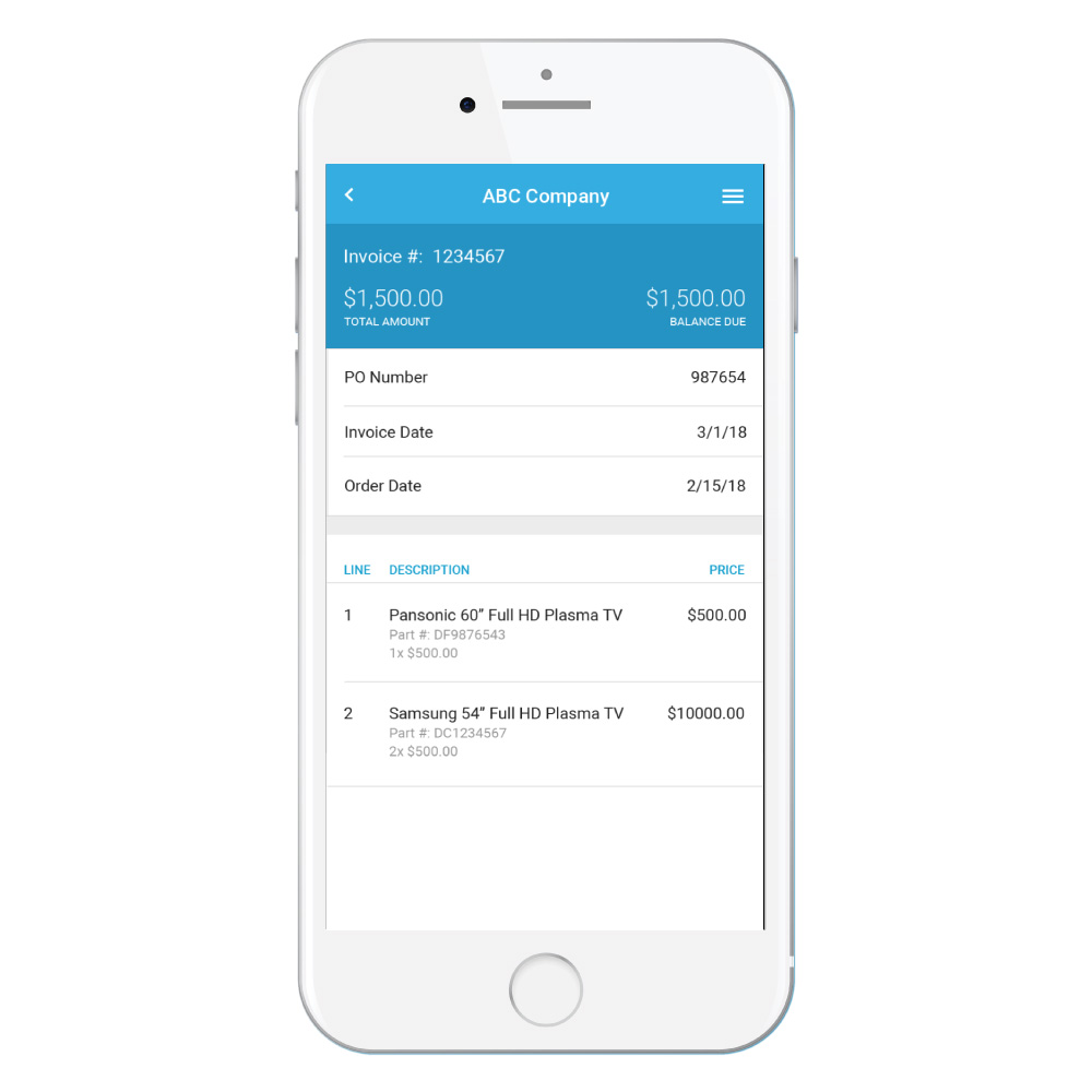 Screenshot of the Bezlio mobile app on a smart phone displaying the details on a customer invoice with data populated from a Prophet 21 ERP.