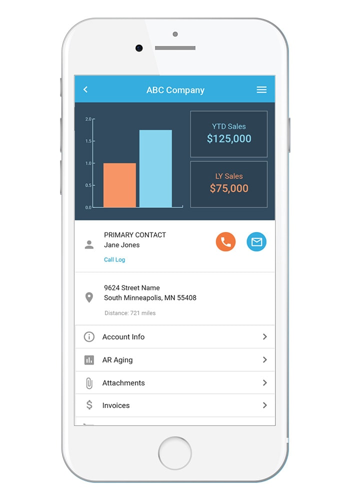 Bezlio no-code/low-code mobile app platform displayed on a mobile phone. The screenshot of the mobile sales software dashboard shows company account details, sales performance metrics, and buttons to drill-down to see AR aging, invoices, orders and more on a mobile device.