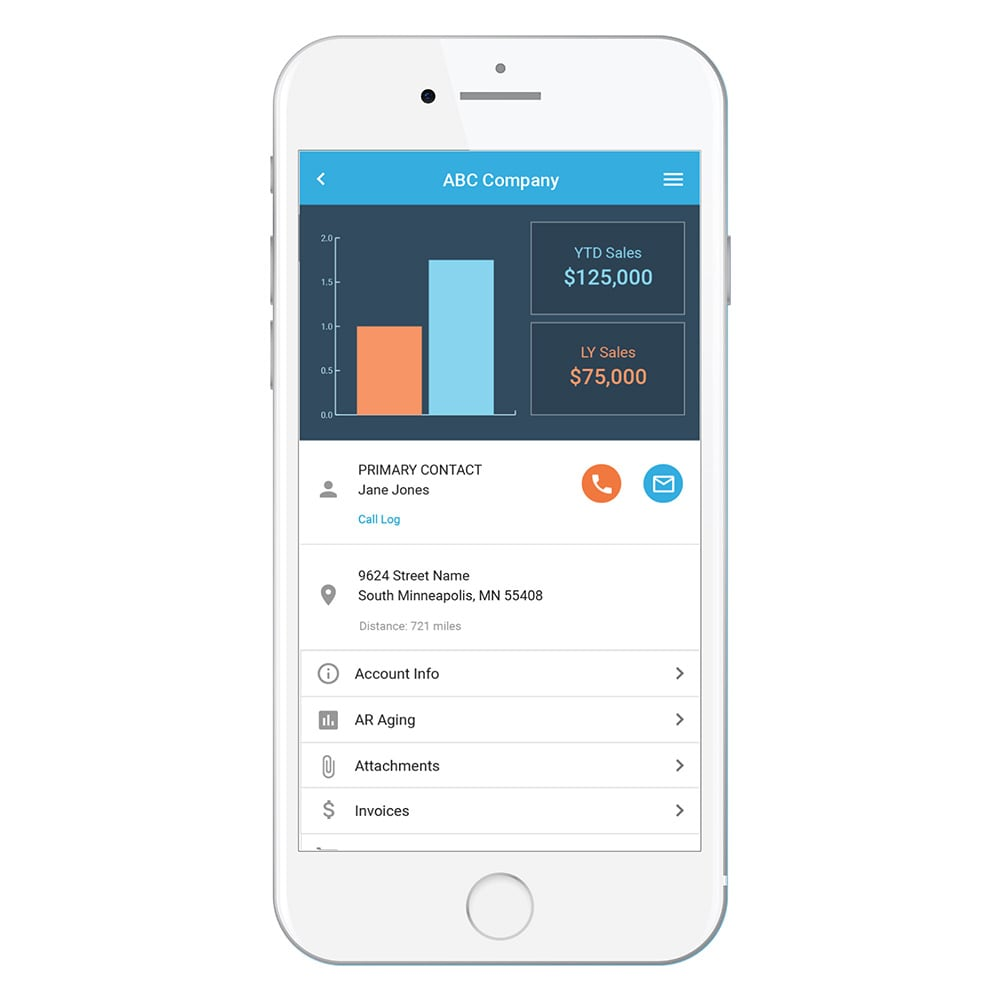 Picture of an iPhone with a Bezlio CRM screen that displays data from an Epicor ERP/CRM database in real-time. Users can interact with the data and get push notifications.