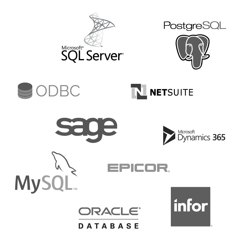 Logos of various ERP systems and databases that Bezlio integrates with