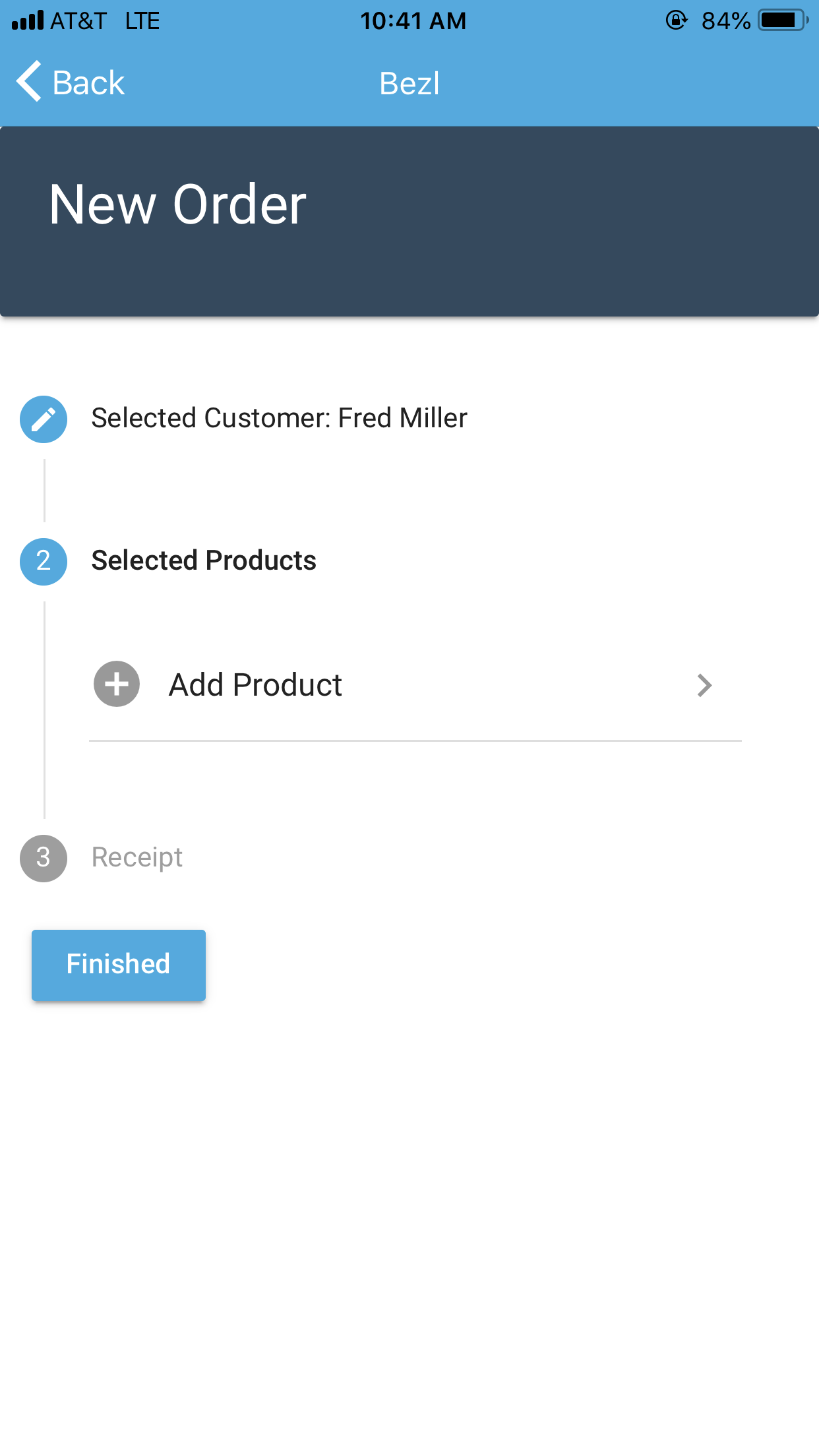 Once the customer is selected, the user selects Add Product to add items to the order.