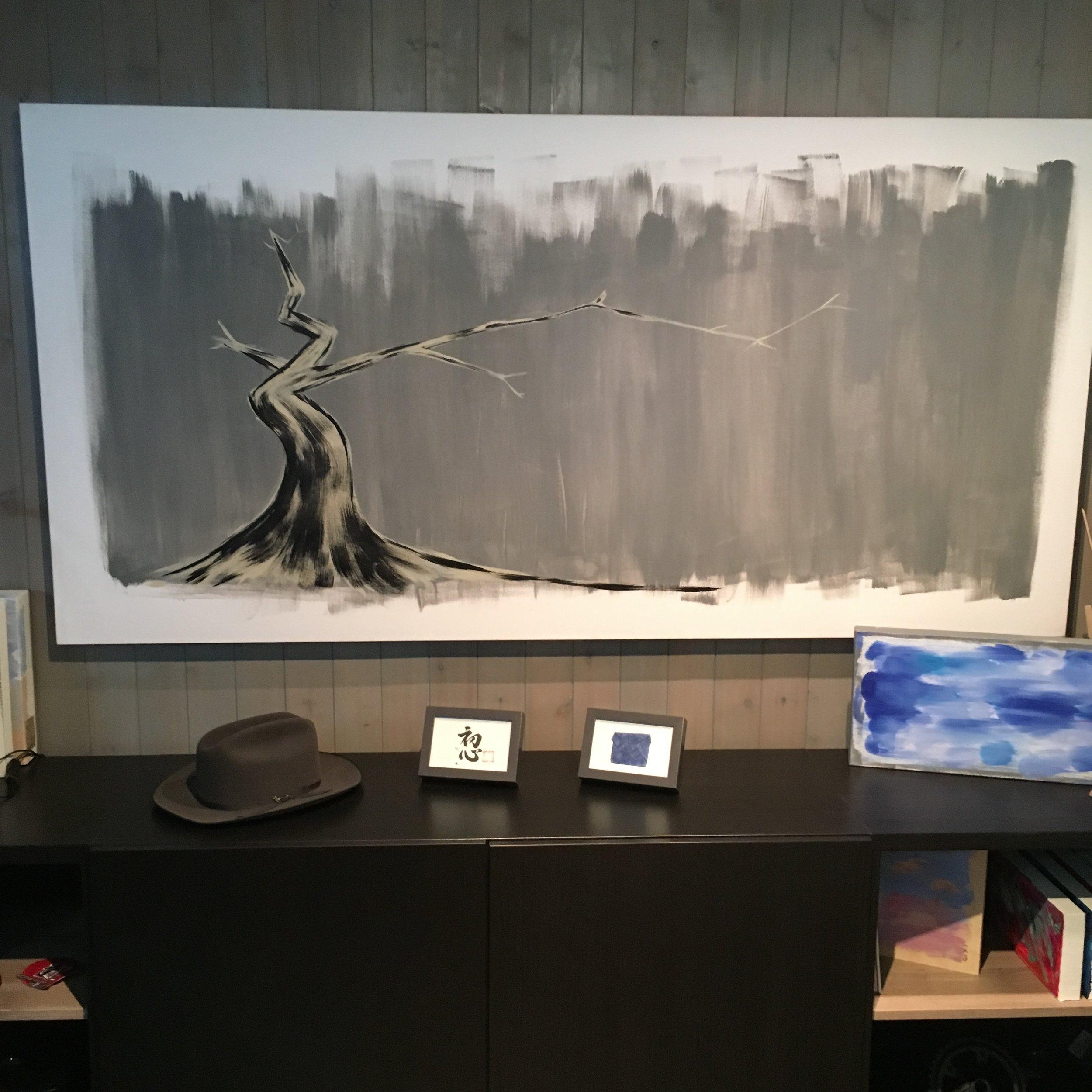 "ichimokushi ""grey""  36"" x 72"" (acrylic on canvas)"