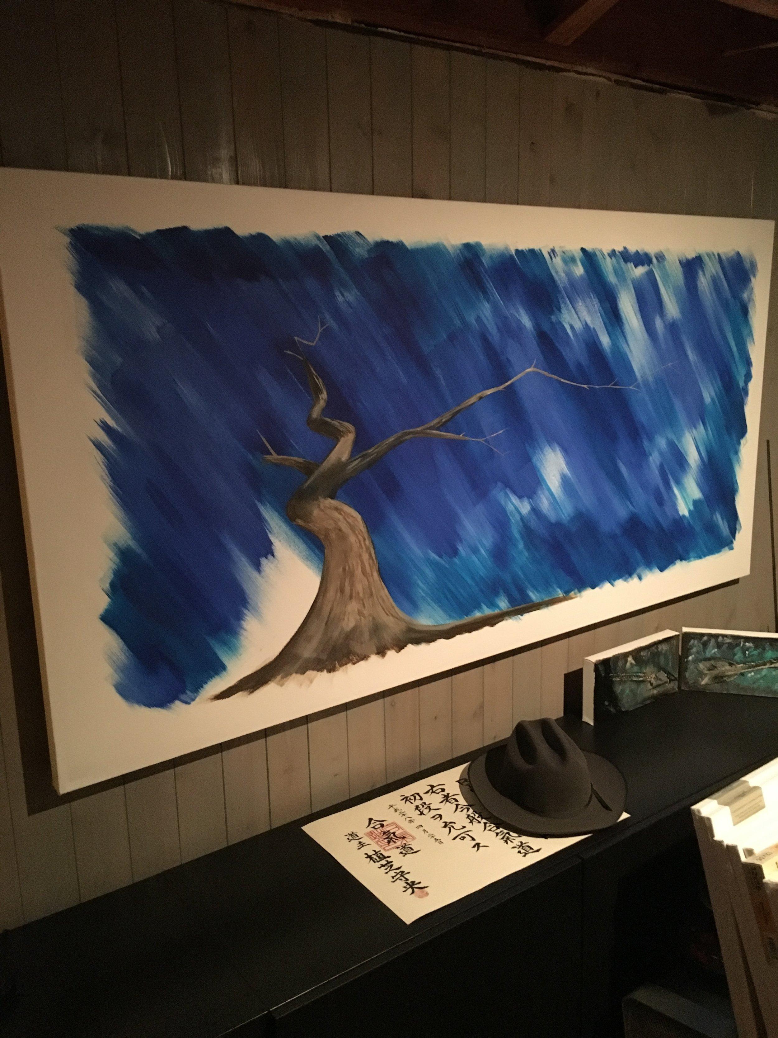 """ichimokushi """"reign""""  36"""" x 72"""" (acrylic on canvas)"""