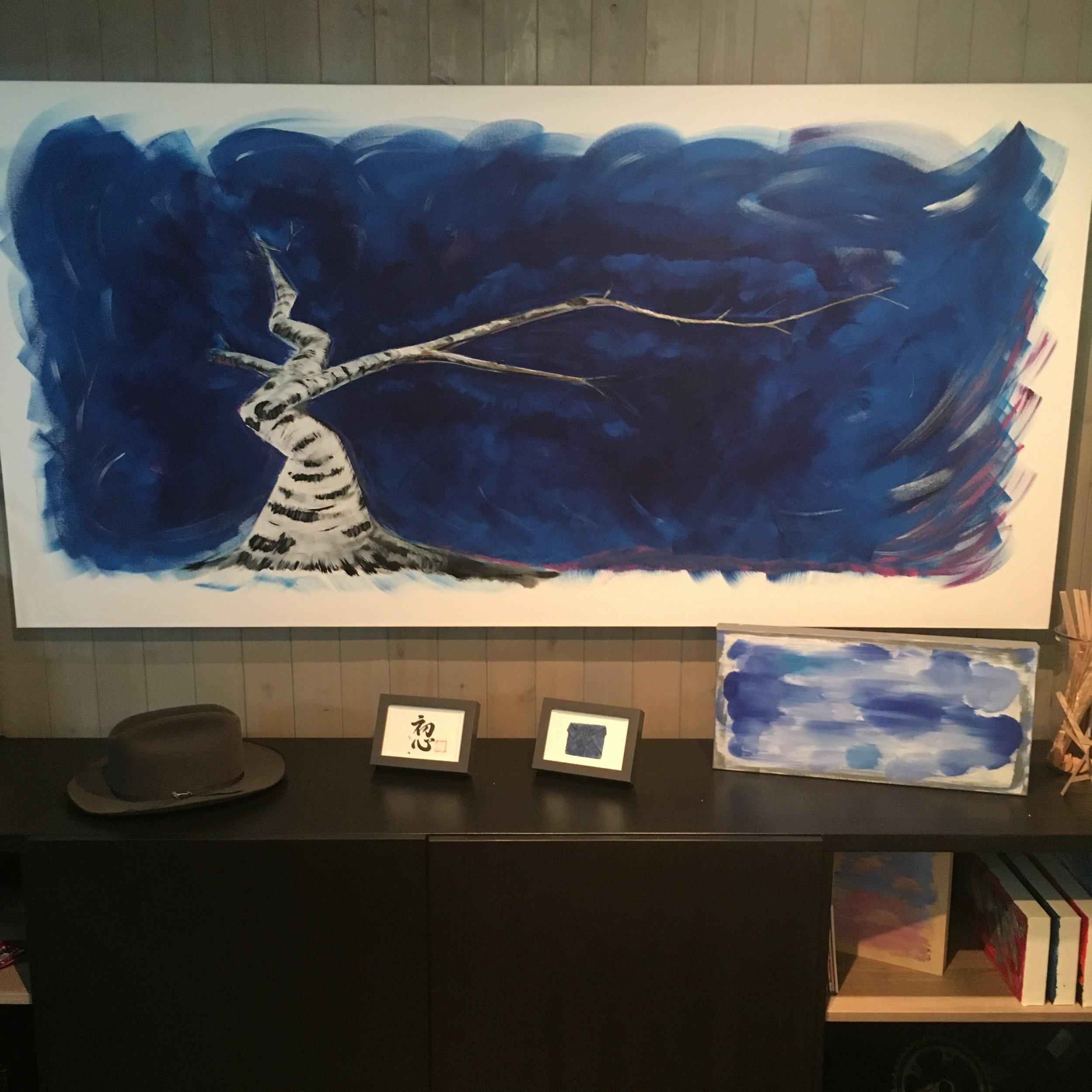 """ichimokushi """"turbulent""""  36"""" x 72"""" (acrylic on canvas)"""