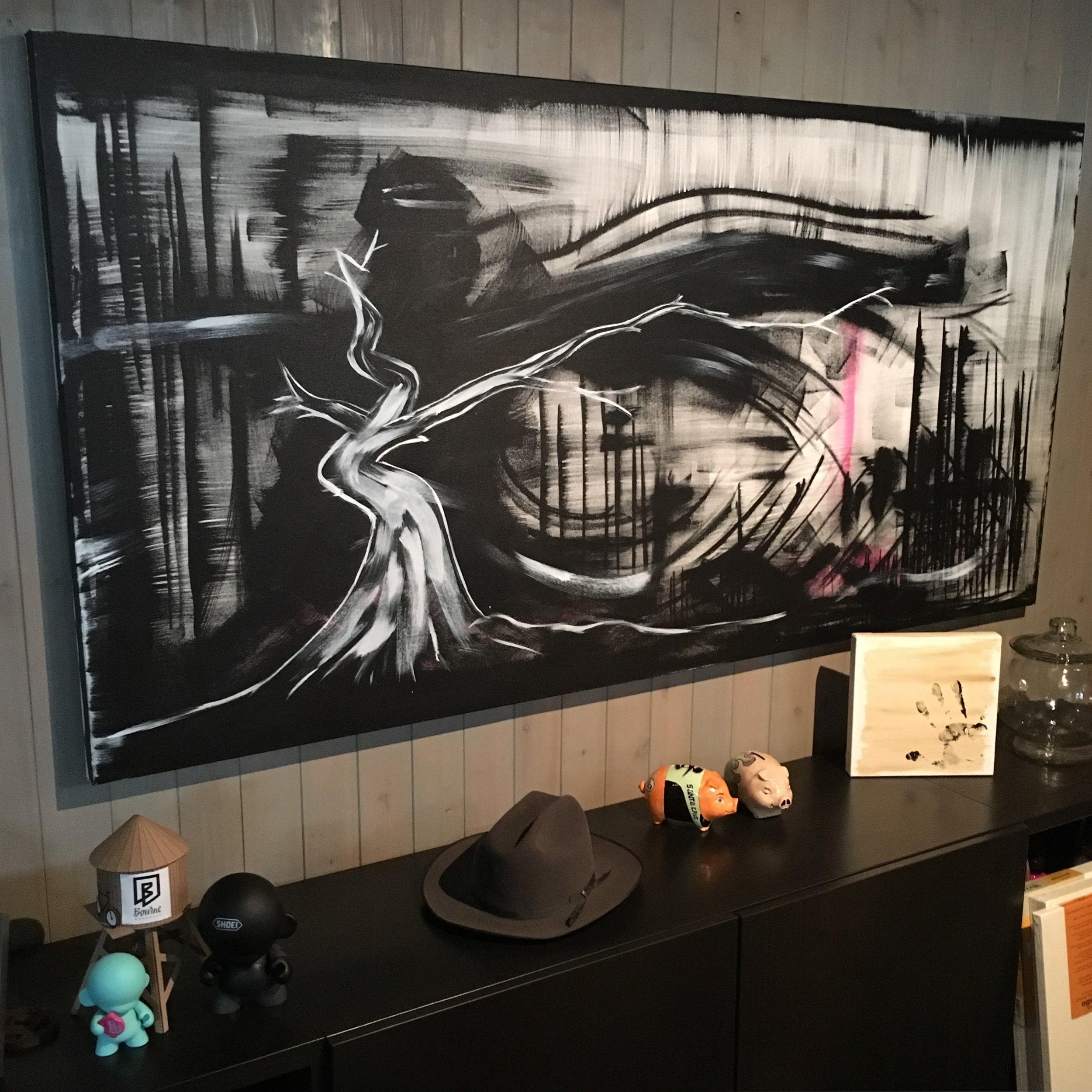 """Ichimokushi """"darkness""""  36"""" x 72"""" (acrylic on canvas)"""