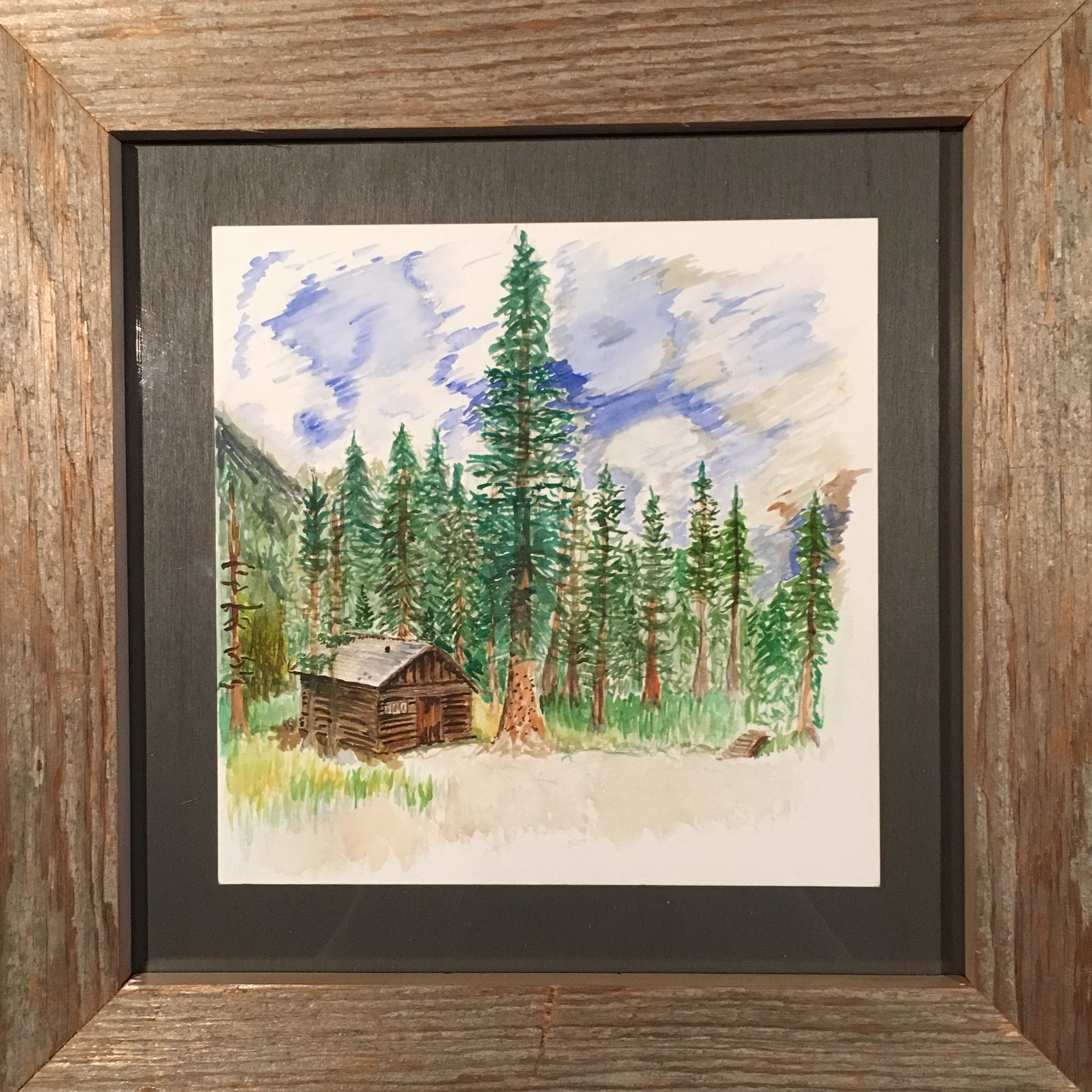 """life together, a celebration  8"""" x8""""(water color, in our shop made frame)"""