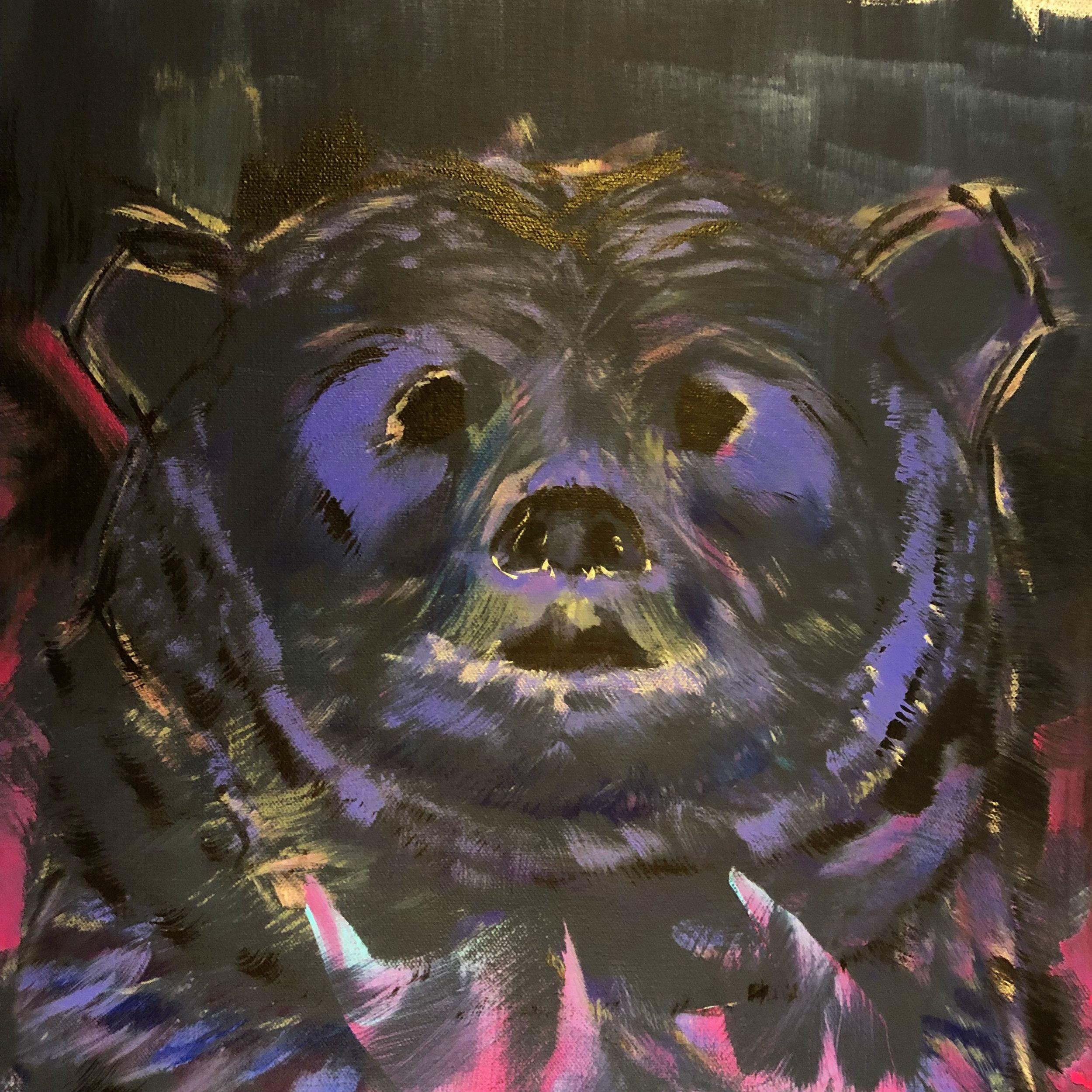 """Kokoro """"darkness will blossom""""  WIP 72""""x36"""" (acrylic on canvas)"""