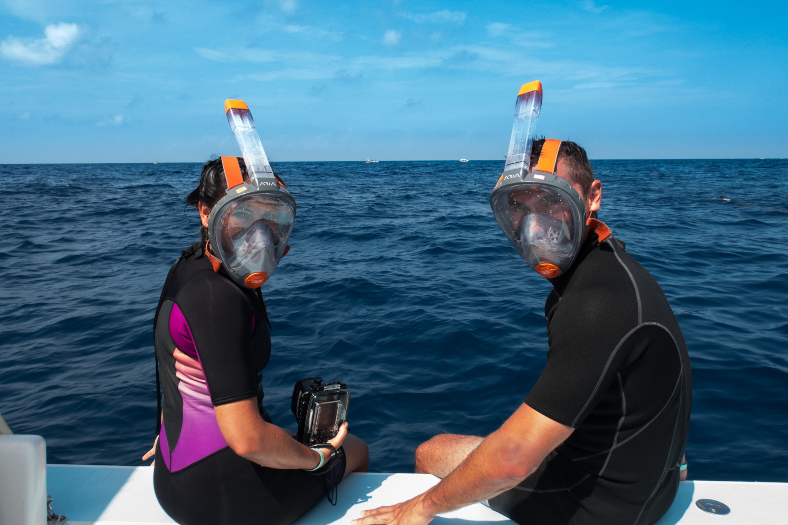 Getting ready to go Whale Shark Snorkeling with an Ocean Reef Aria Mask