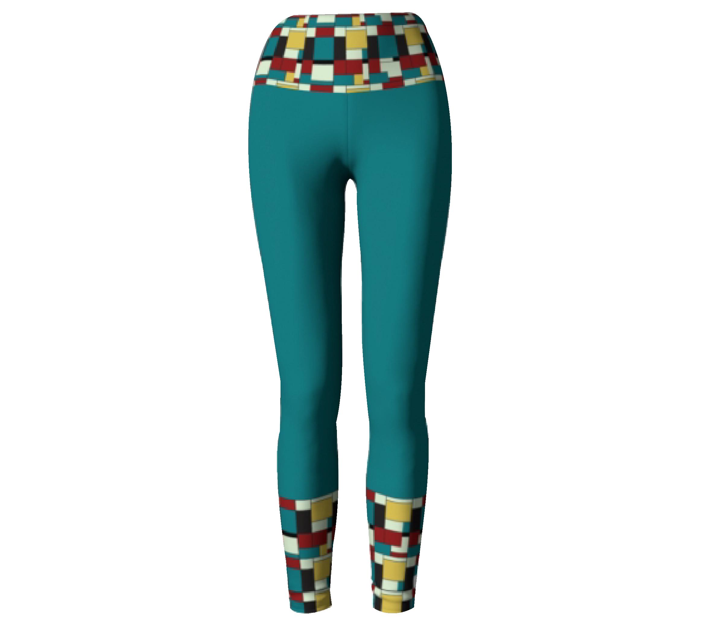 Turquoise Block Print       Leggings $45