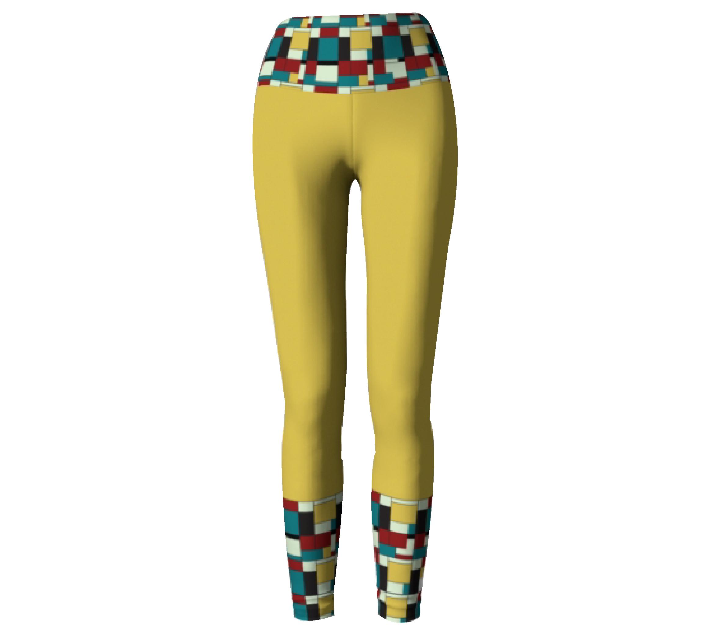 Yellow Block Print        Leggings $45