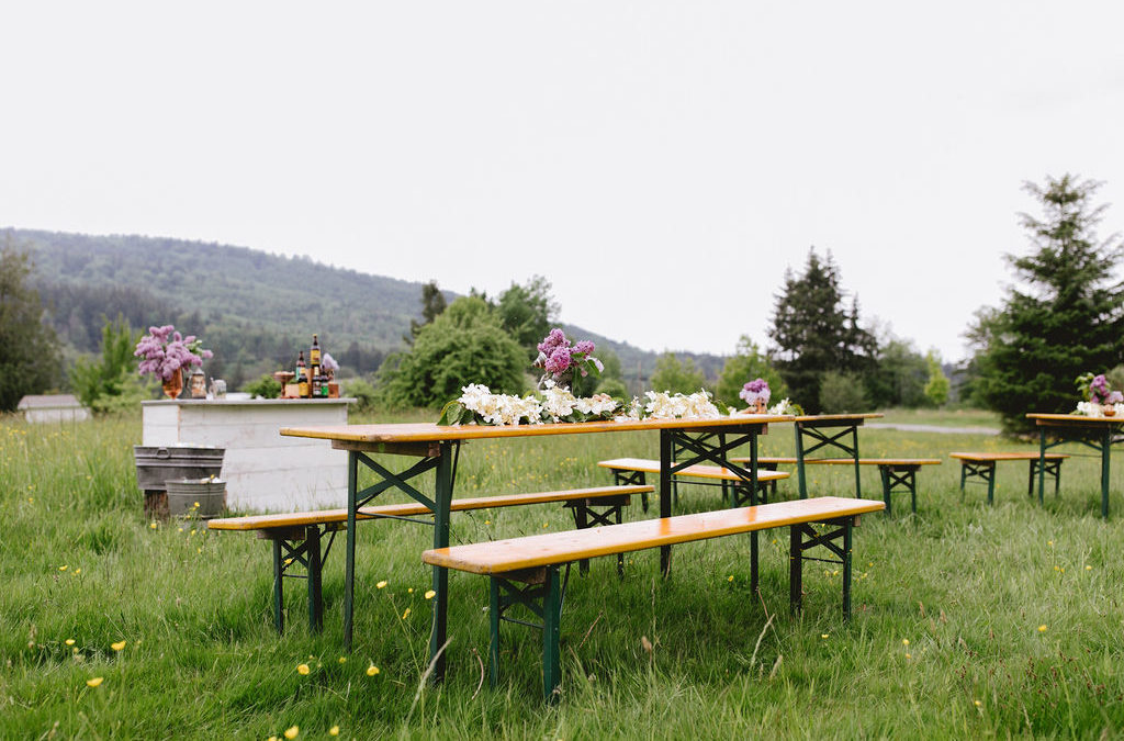 Beer Garden Table rentals from Wander Event Rentals are available for large groups
