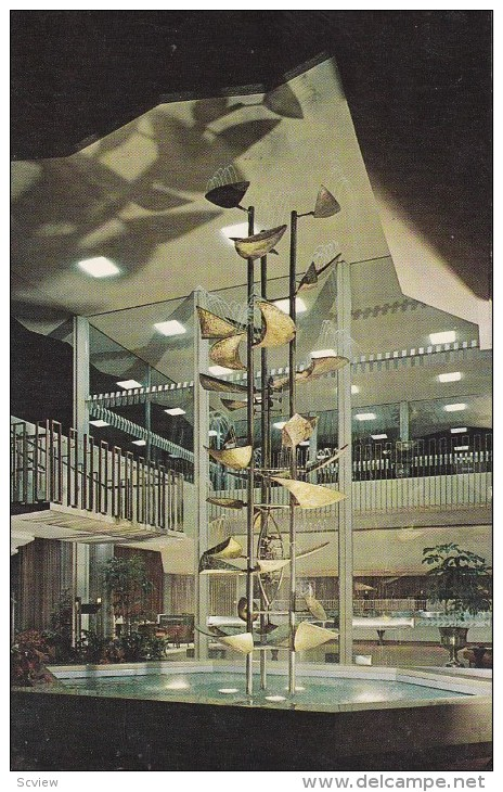 Interior of First National Auto Bank with Bertoia Fountain, c. 1960s.