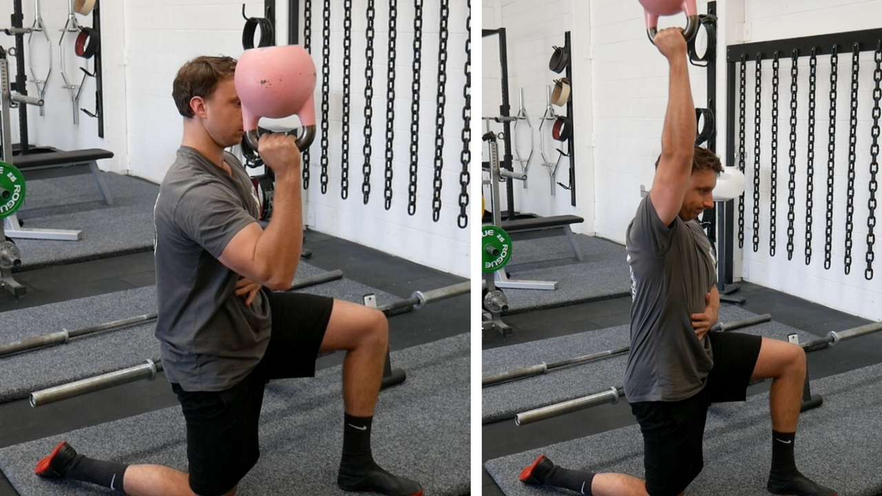Half Kneeling Bottoms Up KB Overhead Press, great exercise for shoulder stability and serratus anterior activation