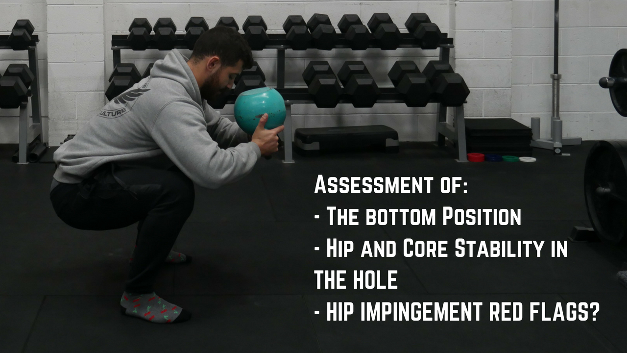 The anterior loaded squat assessment allows the best assessment of the bottom position of the squat