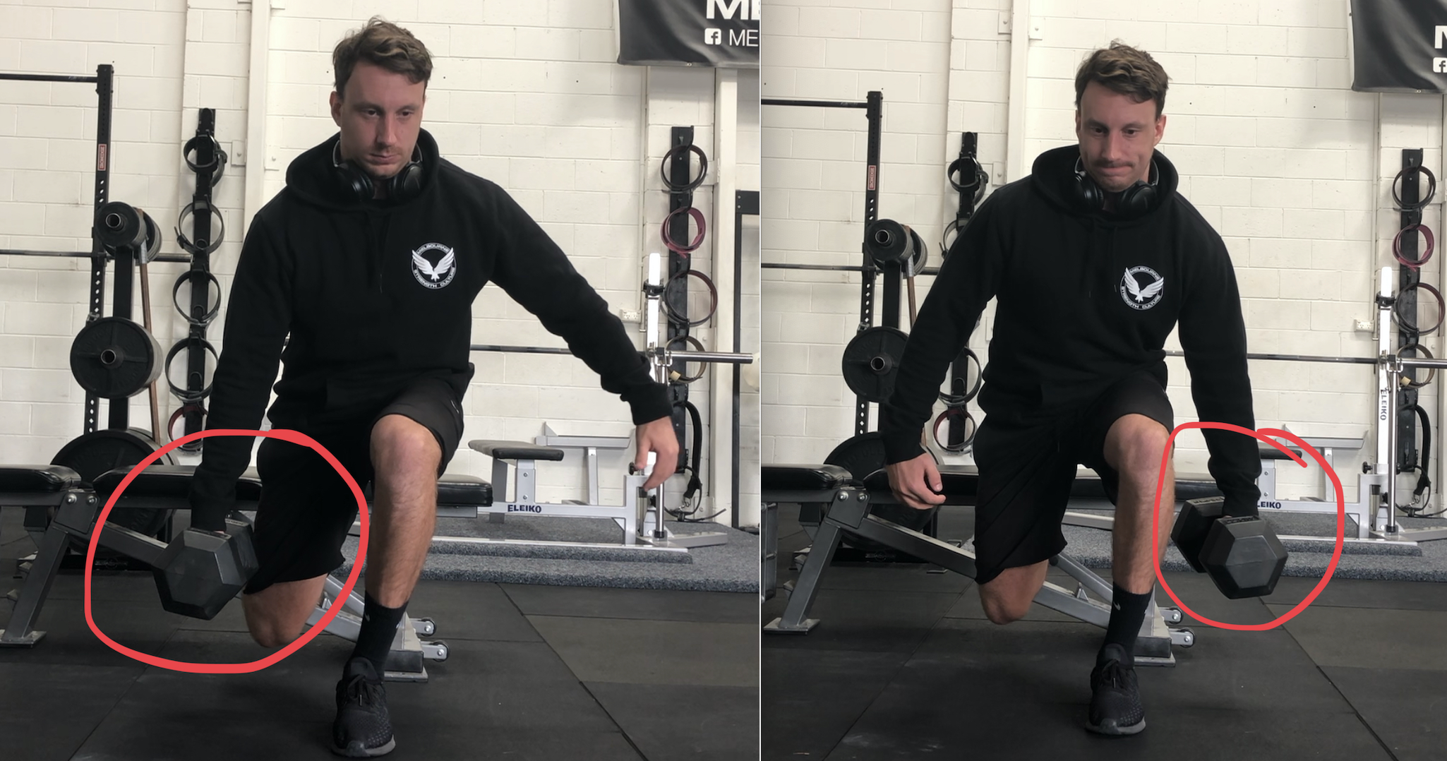 Contralateral and Ipsilateral loaded Bulgarian split squats - both challenge the ability keep the centre of mass over the front foot.