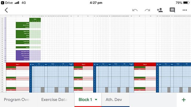 More spreadsheet porn. Up until now, the coaches at @melbournestrengthculture have had to manually track volume per week in terms of total sets. Having a bit of time up my sleeve this week because of a break in internship classes has let me build a big fuck off formula that will now track sets per week for the main movements and movement patterns (and arms 💪). . The formula finds the total sets for each movement, regardless of which day or exercise slot it has been programmed in, and counts a rolling total for each week. . Eventually I want this to track alongside some fatigue metrics, too. But that's for another week of brain capacity. #excelisfun #spreadsheetculture