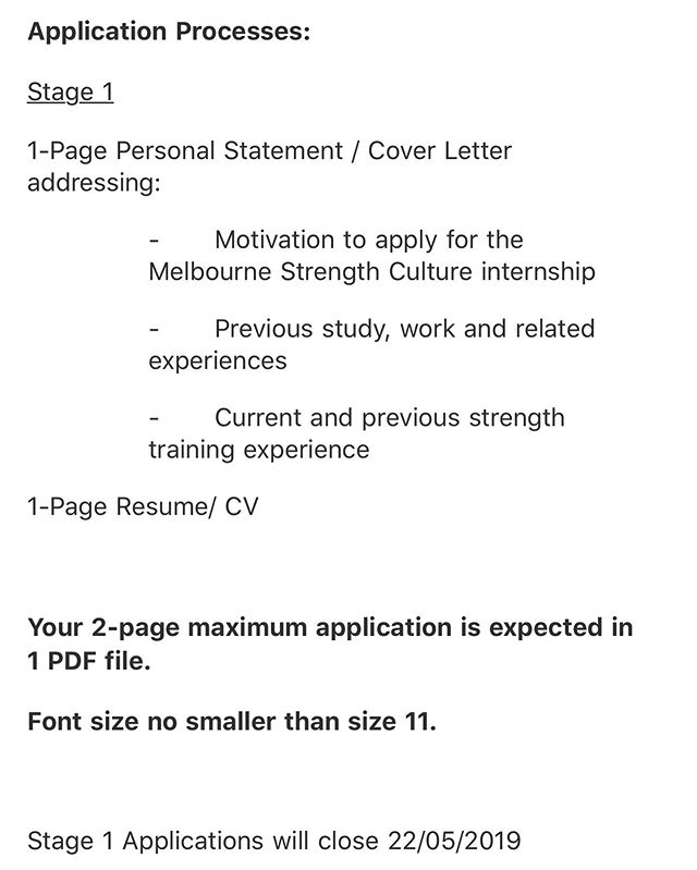 Still amazes me how many intern applications we get that don't follow these pretty easy to follow instructions. With almost every applicant having the exact same 'experience' (PT, Coaching, Uni Degree and a couple extra certain) not following these simple points makes my job a little easier. . Future applicants, I can't stress this enough, follow these instructions, please! #strengthculture #huntprogression