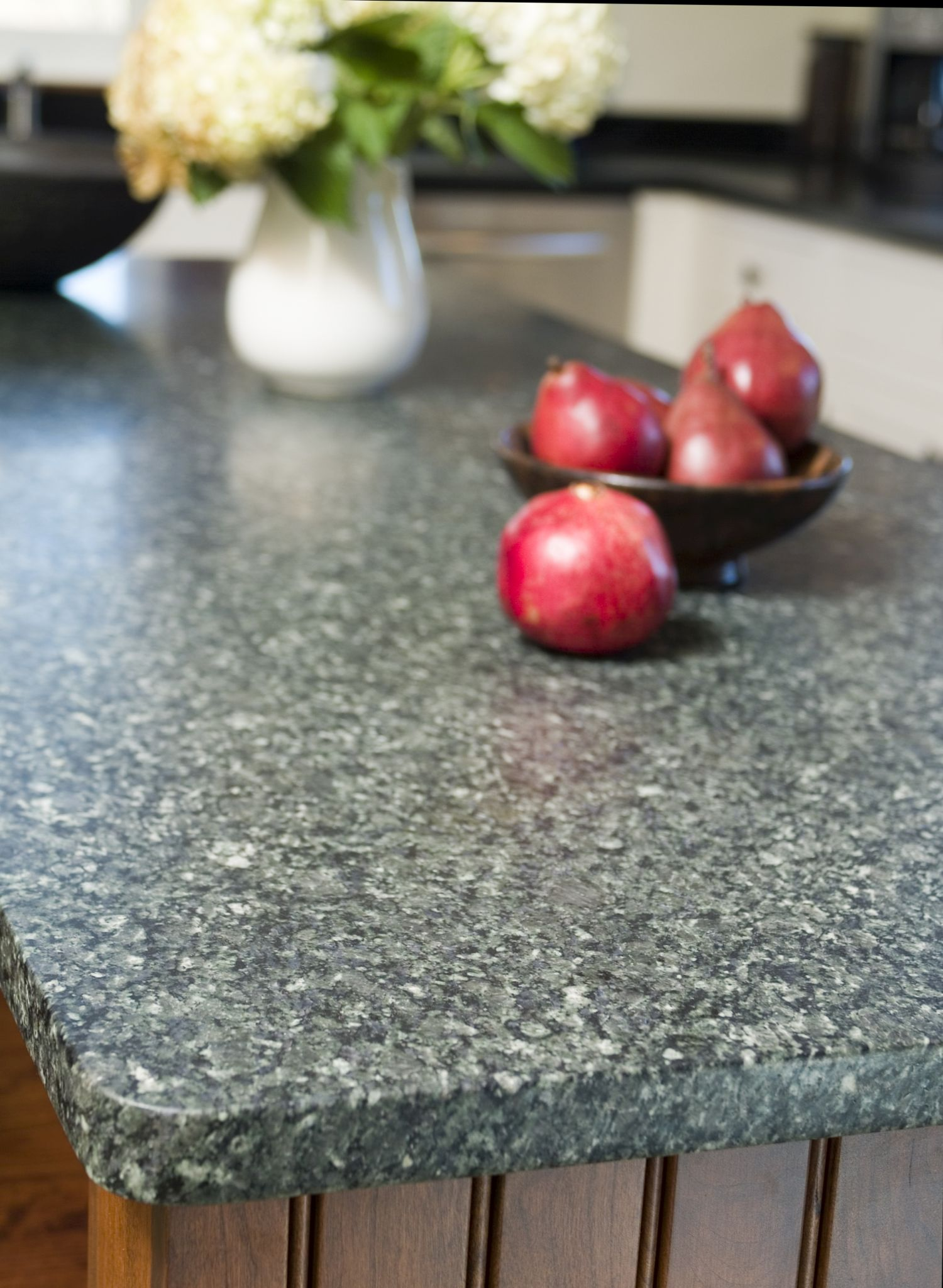 Honed granite for the island