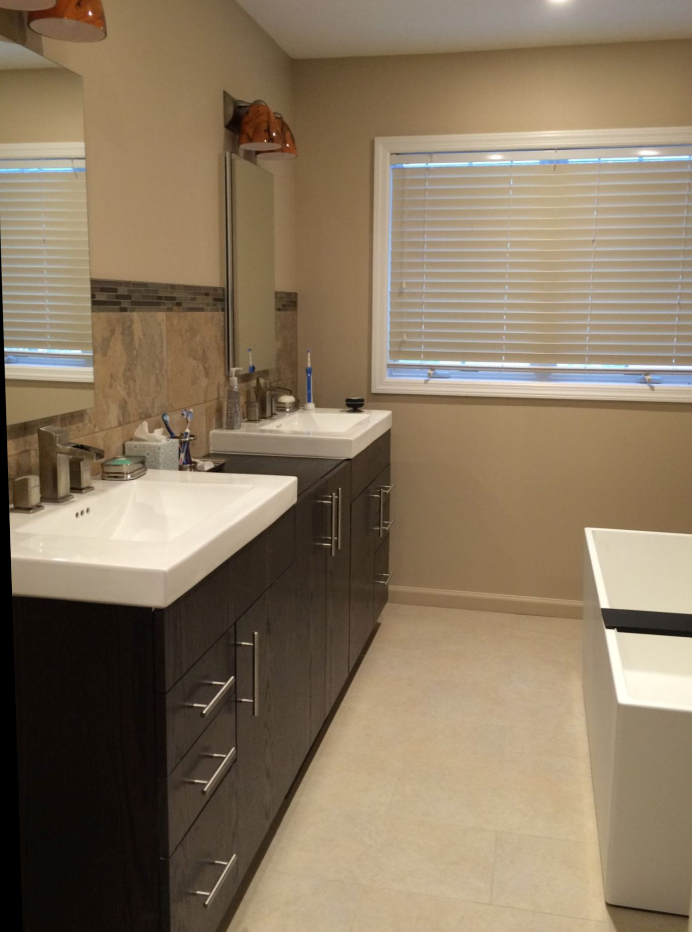 A master bath with Craftsman touches