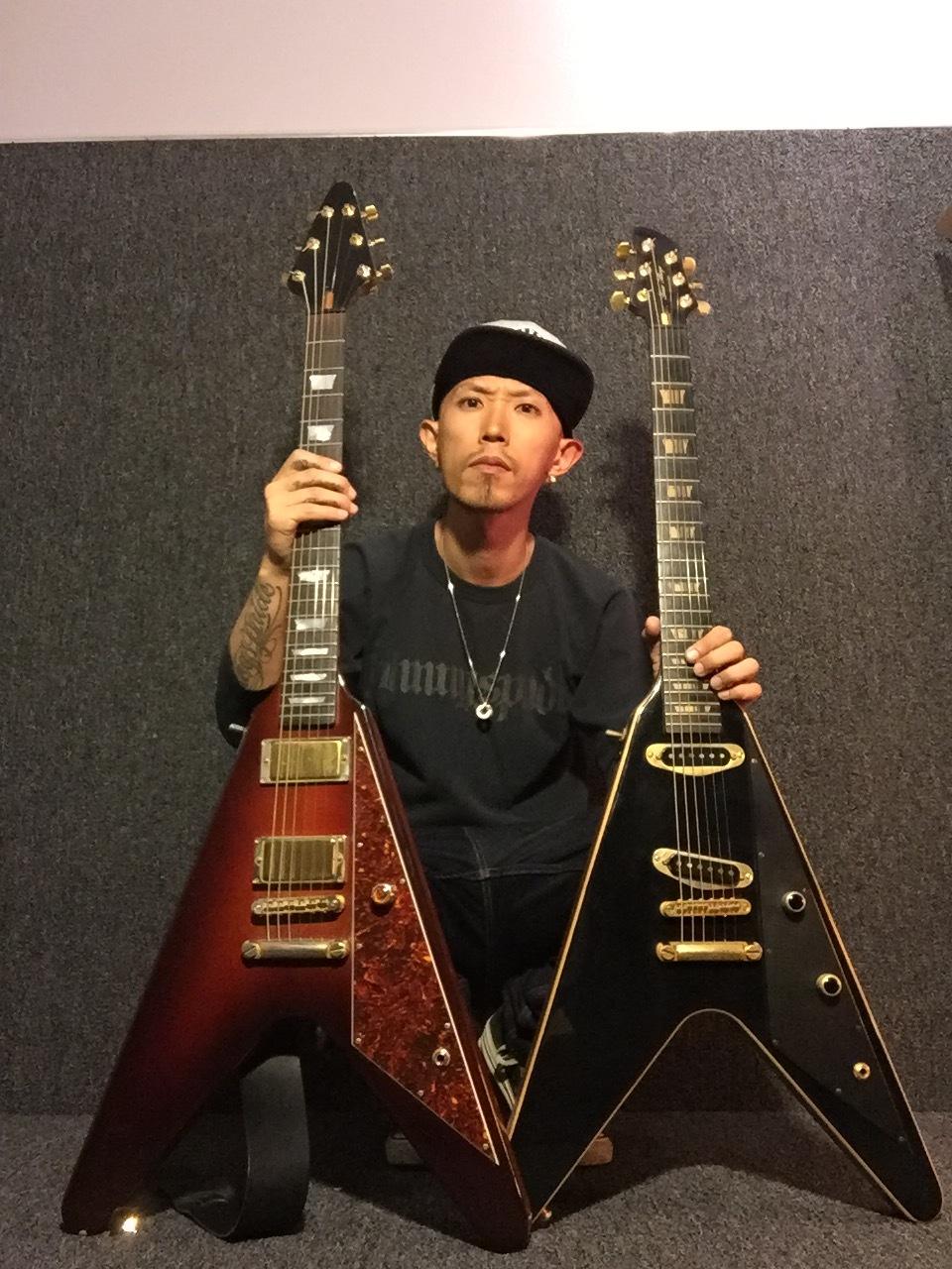 Daisuke Wache of Divine Era with custom guitars