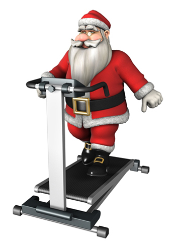 3D digital render of a Santa exercising on a tread mill isolated on white background