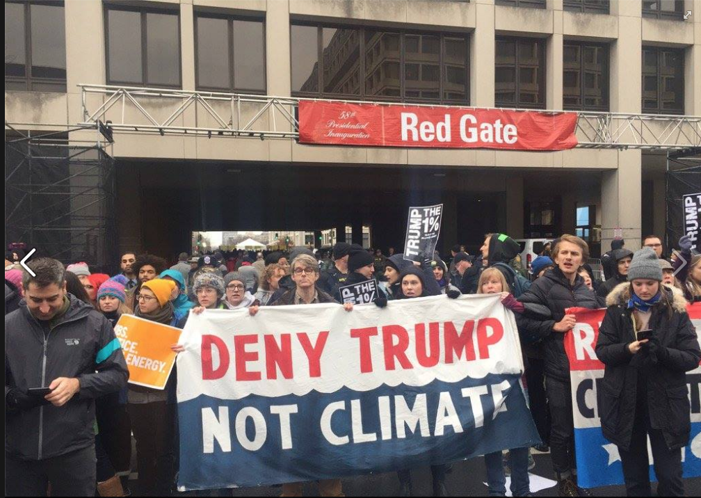 Climate protest blocking entrance to inauguration