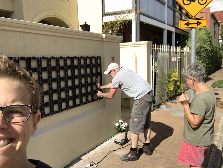 installing the green wall frame at CCP HQ