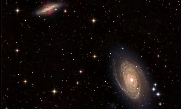 "This image shows M81 (bottom right) and M82 (upper left), a pair of nearby galaxies where ""intergalactic transfer"" may be happening. Gas ejected by supernova explosions in M82 can travel through space and eventually contribute to the growth of M81. Photograph: Fred Herrmann, 2014"
