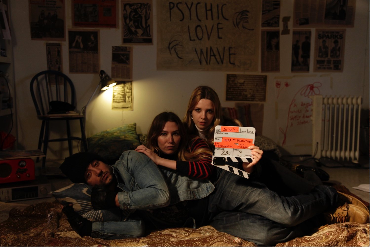 Behind the scenes image of Jack Gordon, Daisy Boyd and Greta Bellamacina on the set for Myths Not For sale.