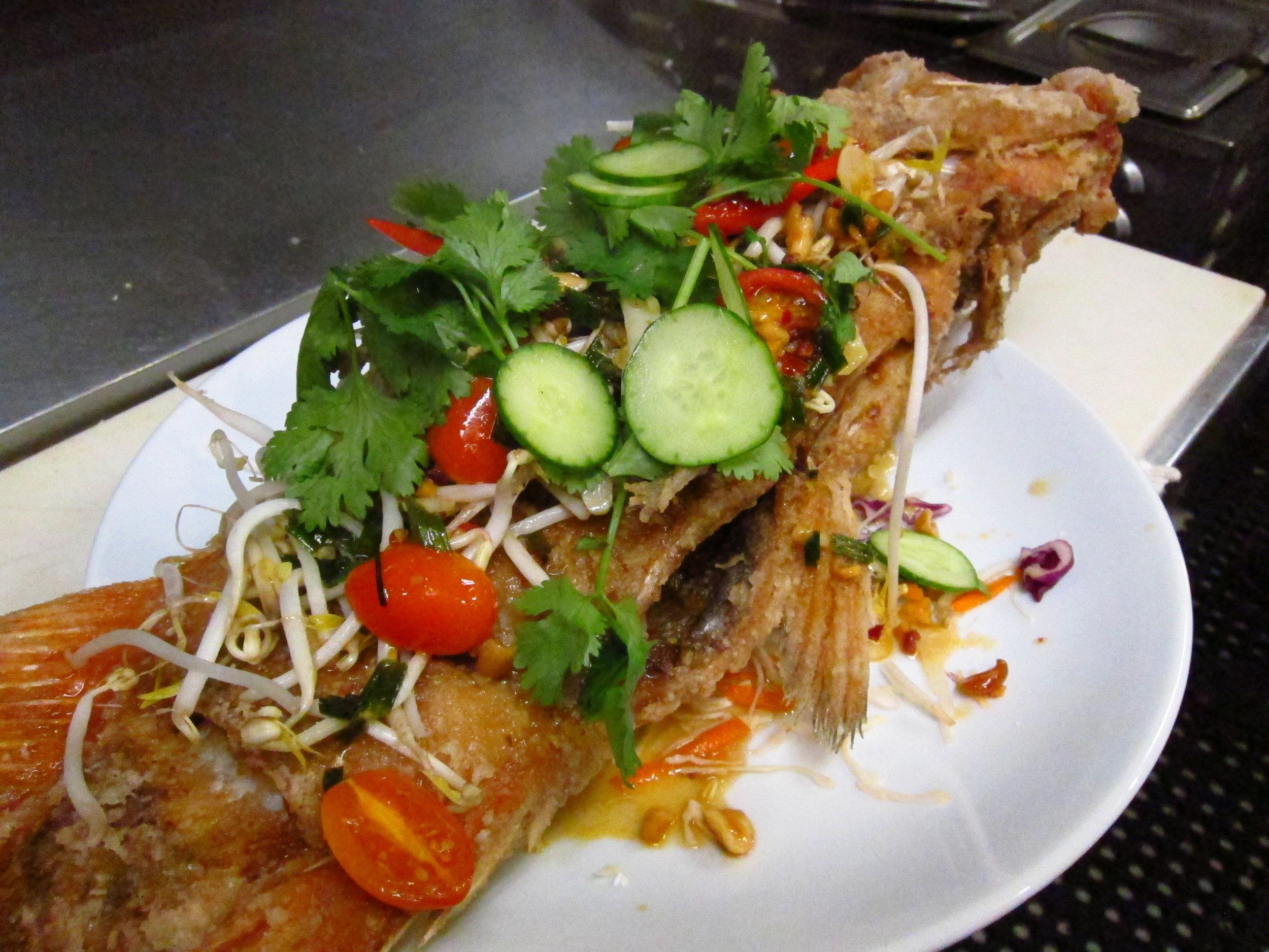 Whole fried local Rockfish