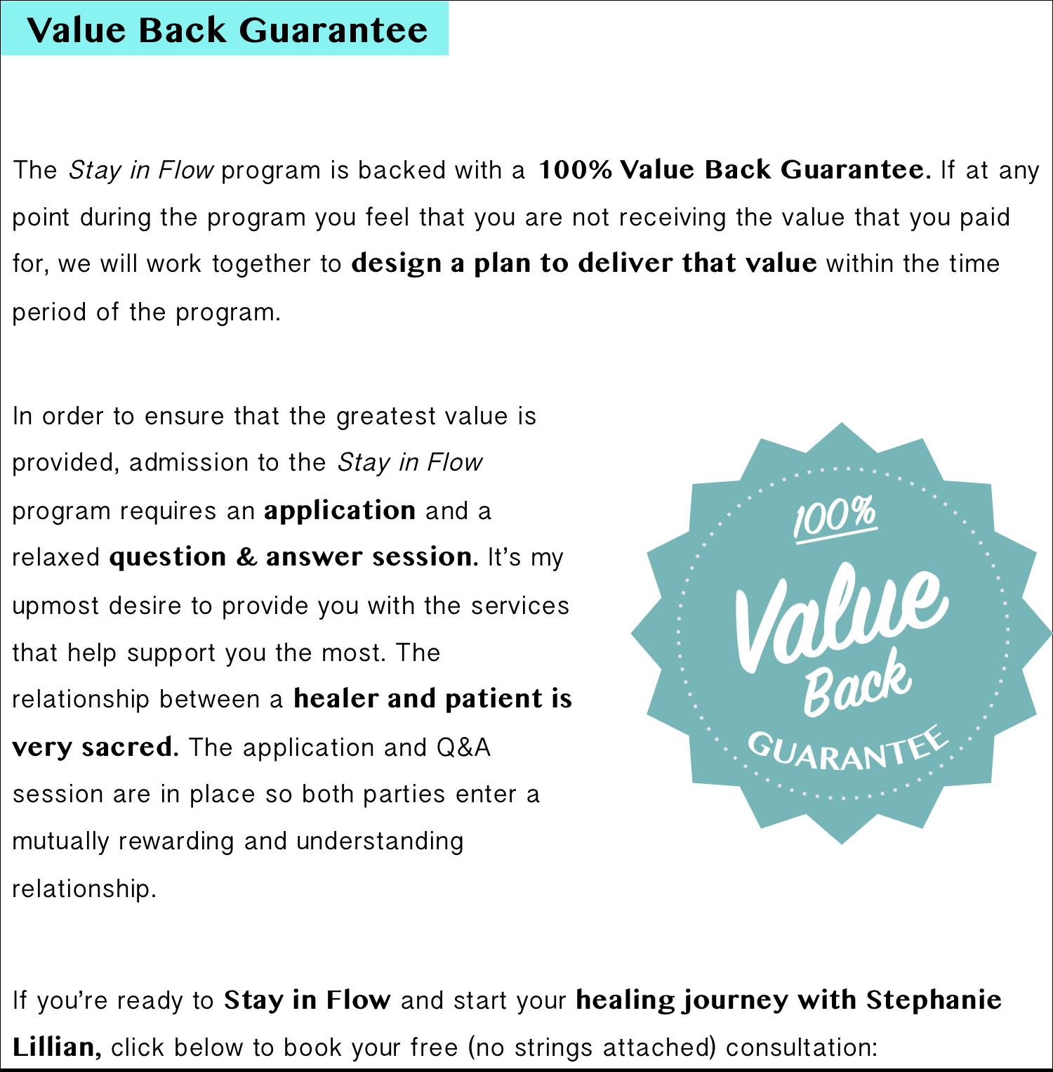 Value Back Guarantee