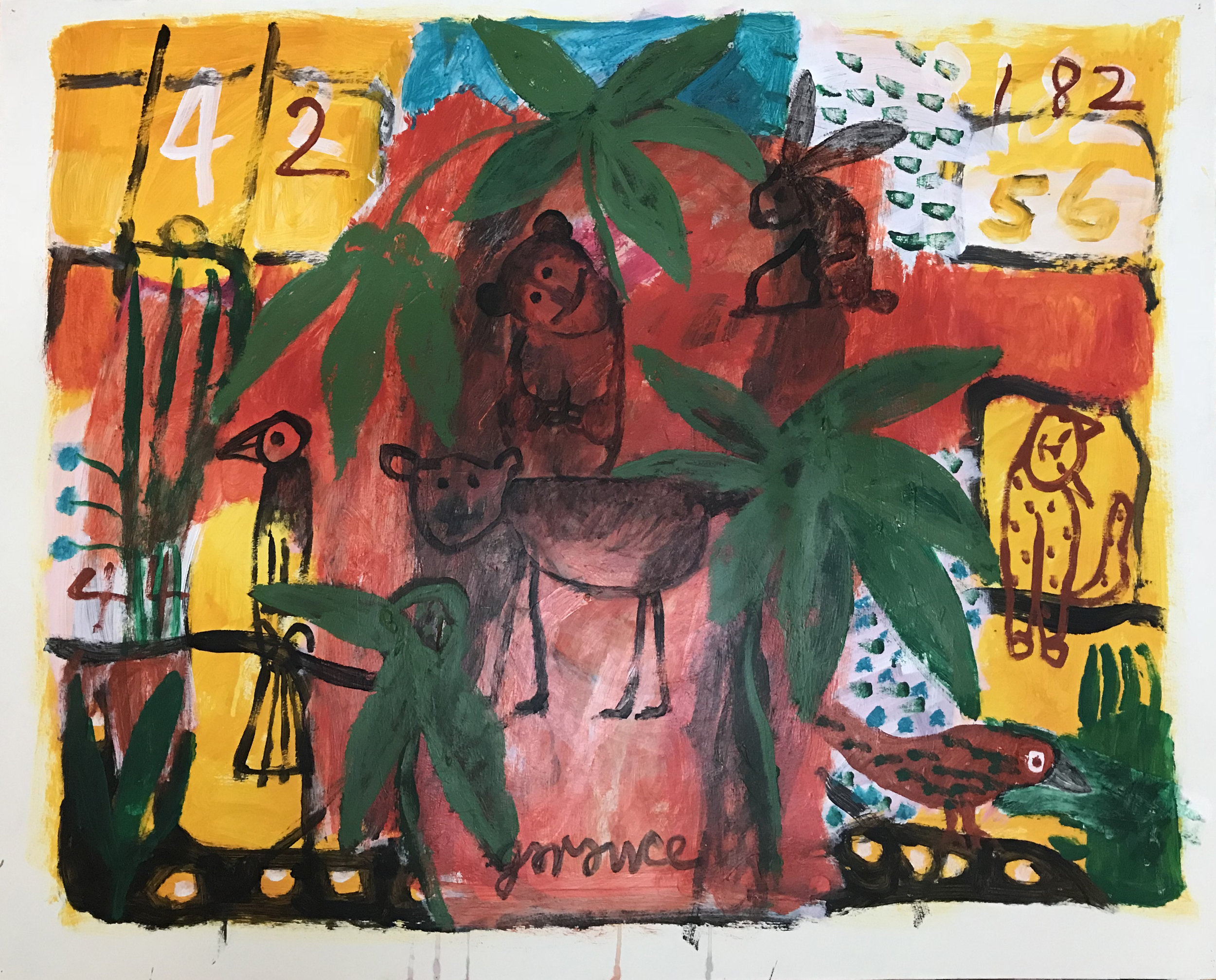 - Palm Leaves with Numbers and Animals2017Acrylic on paper32 x 40 inches