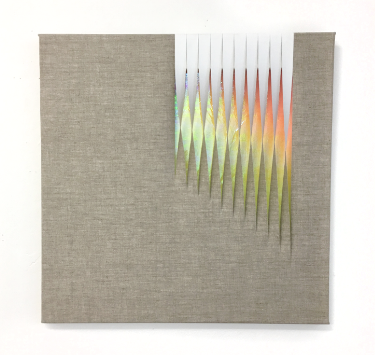 - Untitled2016Acrylic and holographic material on linen19 3/4 x 20 3/4 inches