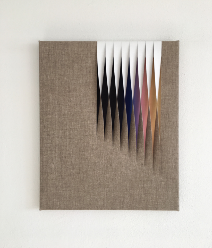 - Untitled (BVPP)2016Acrylic and holographic material on linen18 x 14 inches
