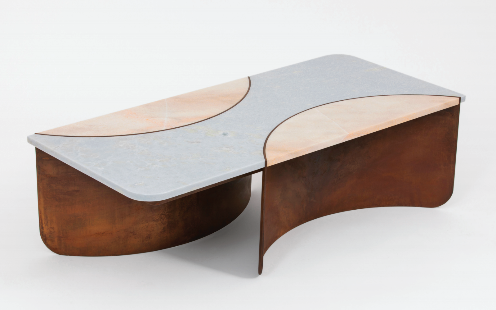 - Crescent Table2018Steel with a red oxide patinaThree-part polished marble top22 x 49 x 15 inches