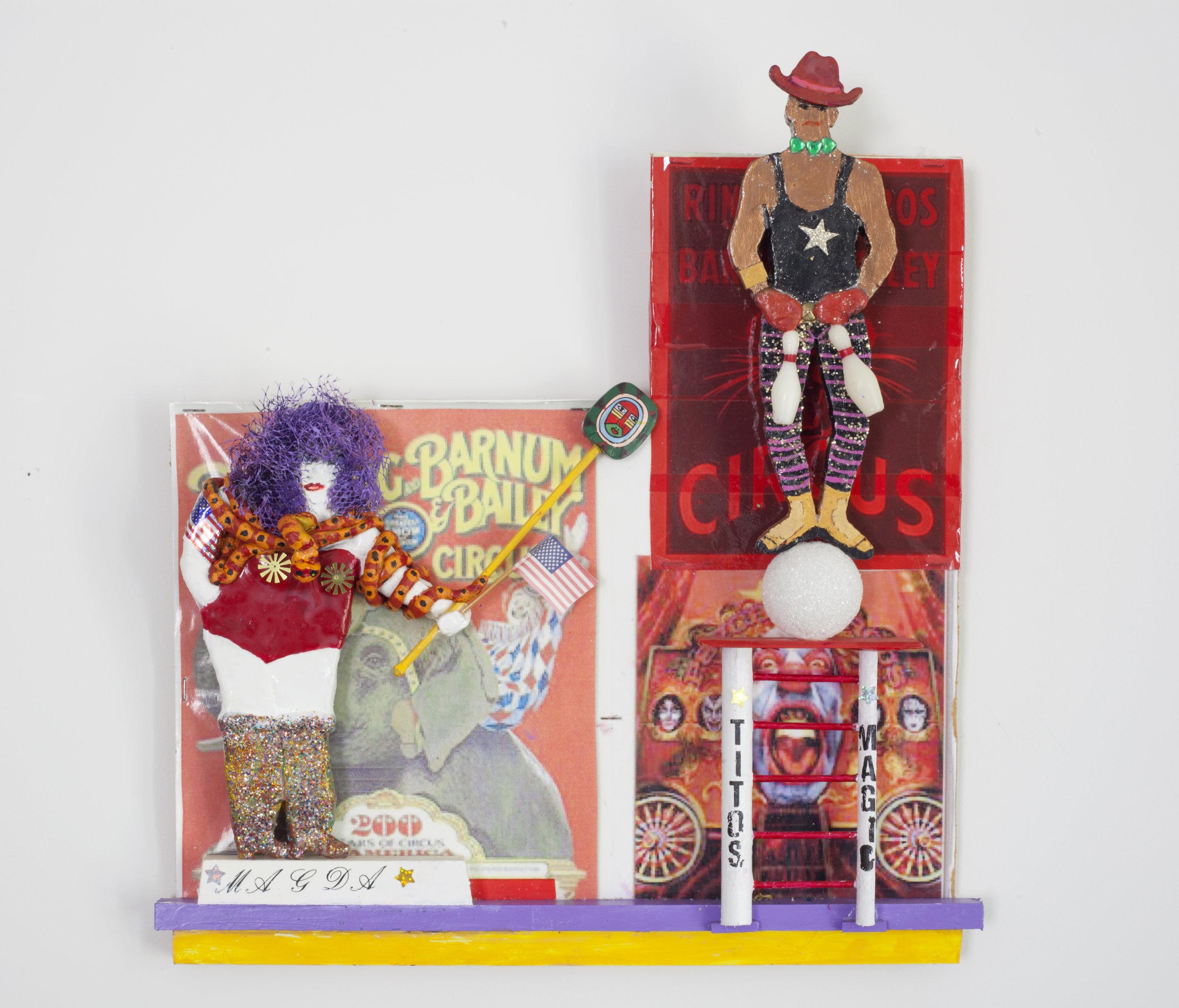 - Circus I (Magda and Tito)2005Wood and mixed media17 ¾ x 16 x 3 inches