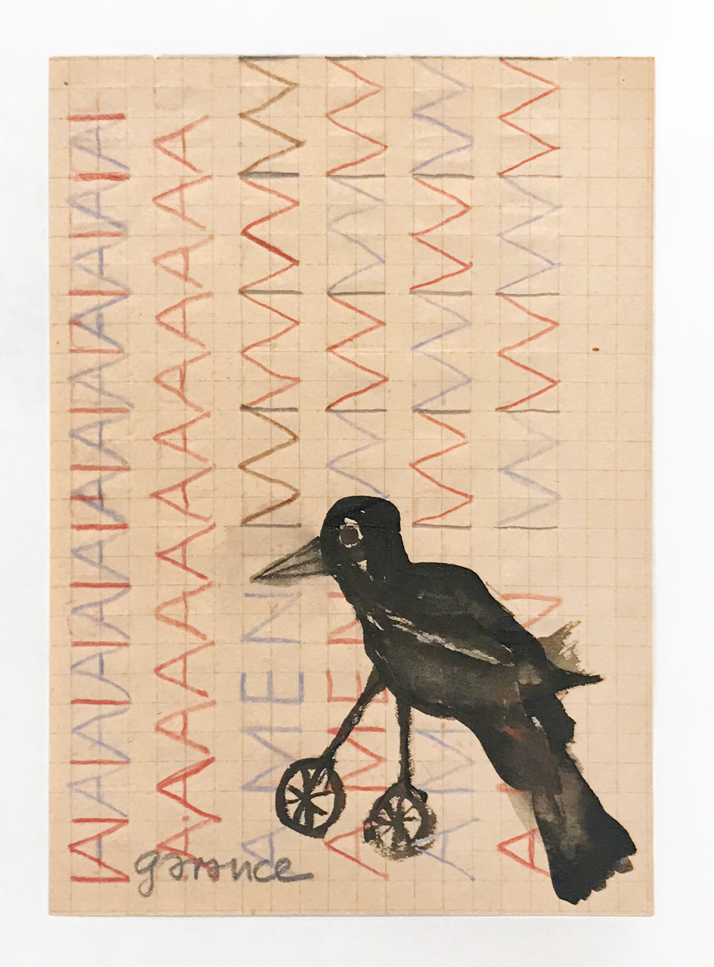 - AMEN/Bird with Wheels for Feetc. 2012Colored pencil and acrylic on paper8 x 5 3/4 inches