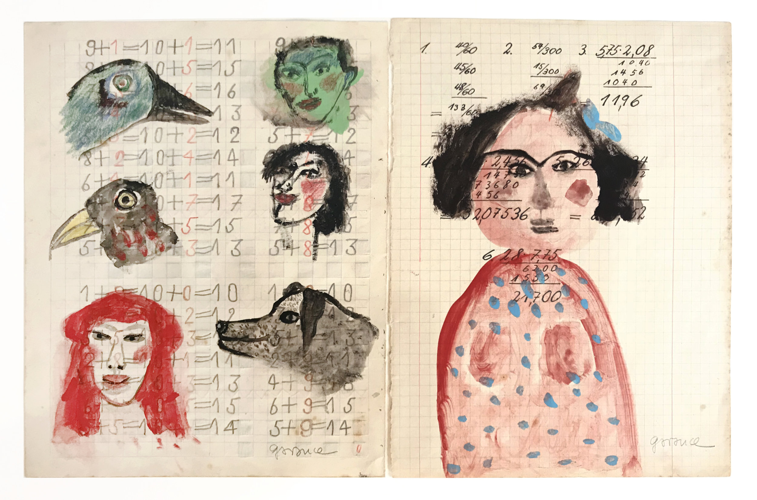 - Two Birds, a Man with a Green Face,a Dog, a Woman with Black Hair, a self-portrait, and a Woman with a Blue Bowc. 2013Acrylic on paper8 ½ x 13 3/4 inches (in 2 parts)
