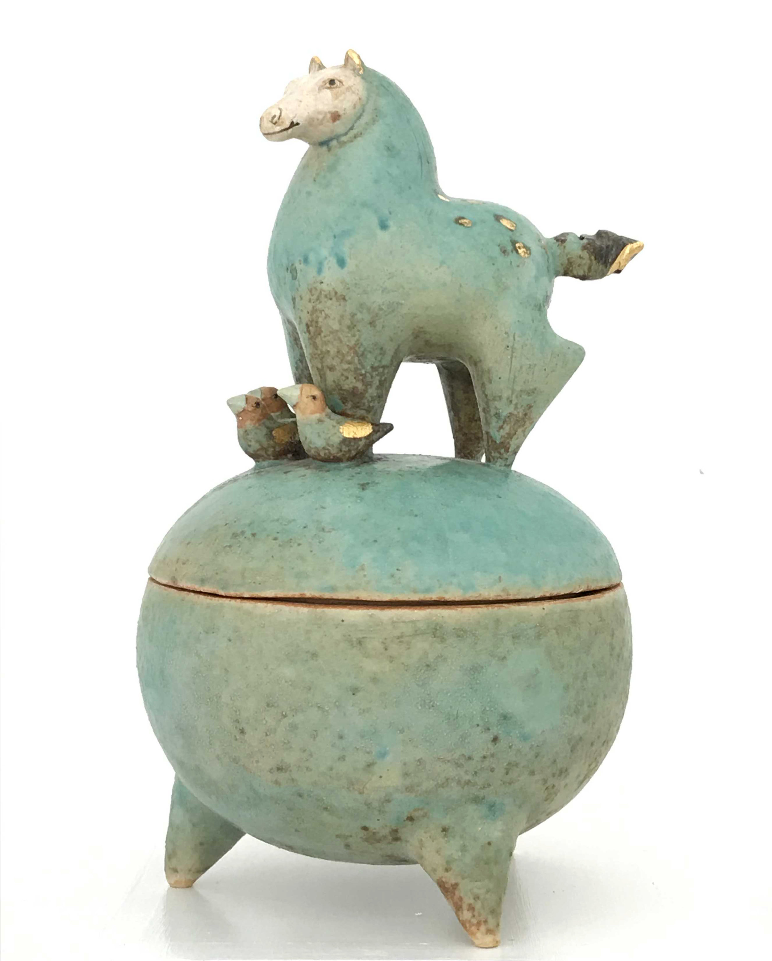 - Margaret WozniakContainer with Horse & Three Birds2016Porcelain9 1/2 x 5 1/2 x 5 1/2 inches