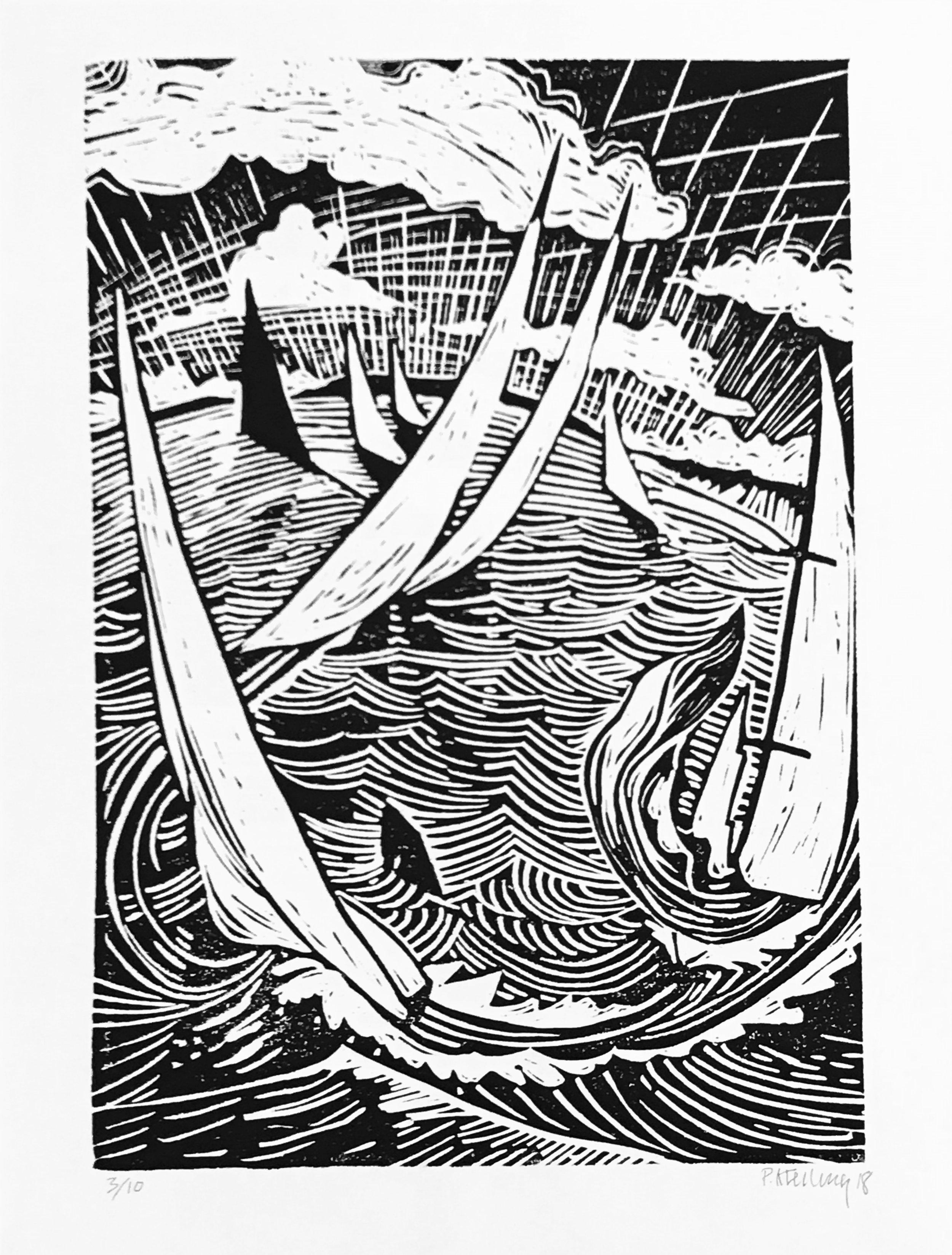 - Paul KreilingDown & Around2018Linoleum block printedition of 1018 x 12 inches