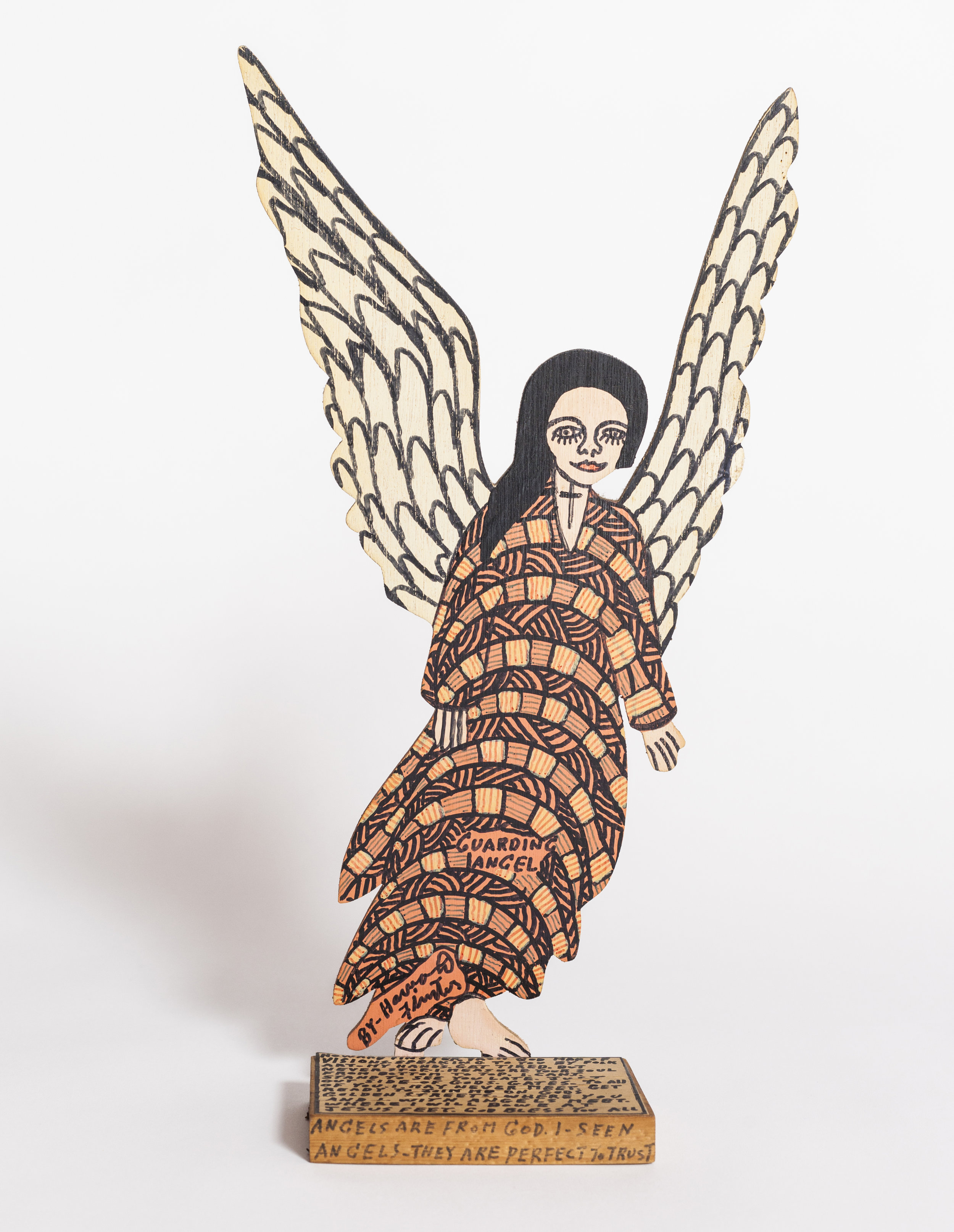 - Howard FinsterGuarding Angel2015Marker, paint and paper on wood