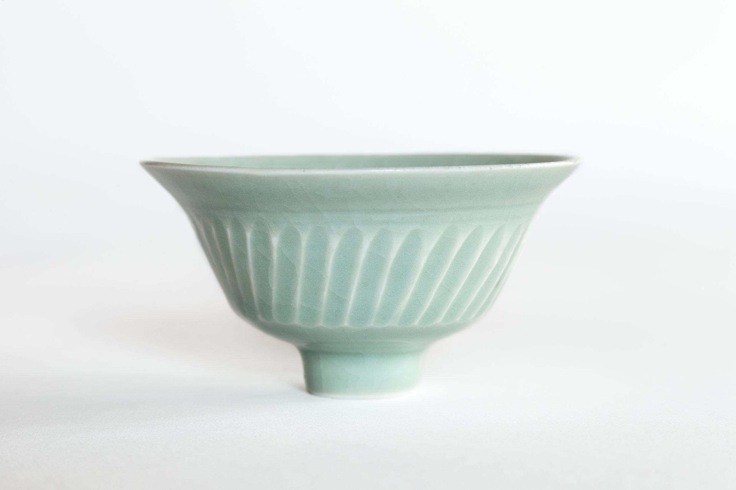- David Leach (1911-2005)Celadon Blue Bowlc. 1977Porcelain4 x 5 1/2 inches