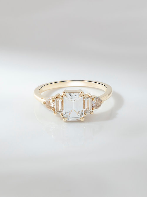 Emerald Cut White Sapphire Engagement Ring Rosey West Fine Jewelry