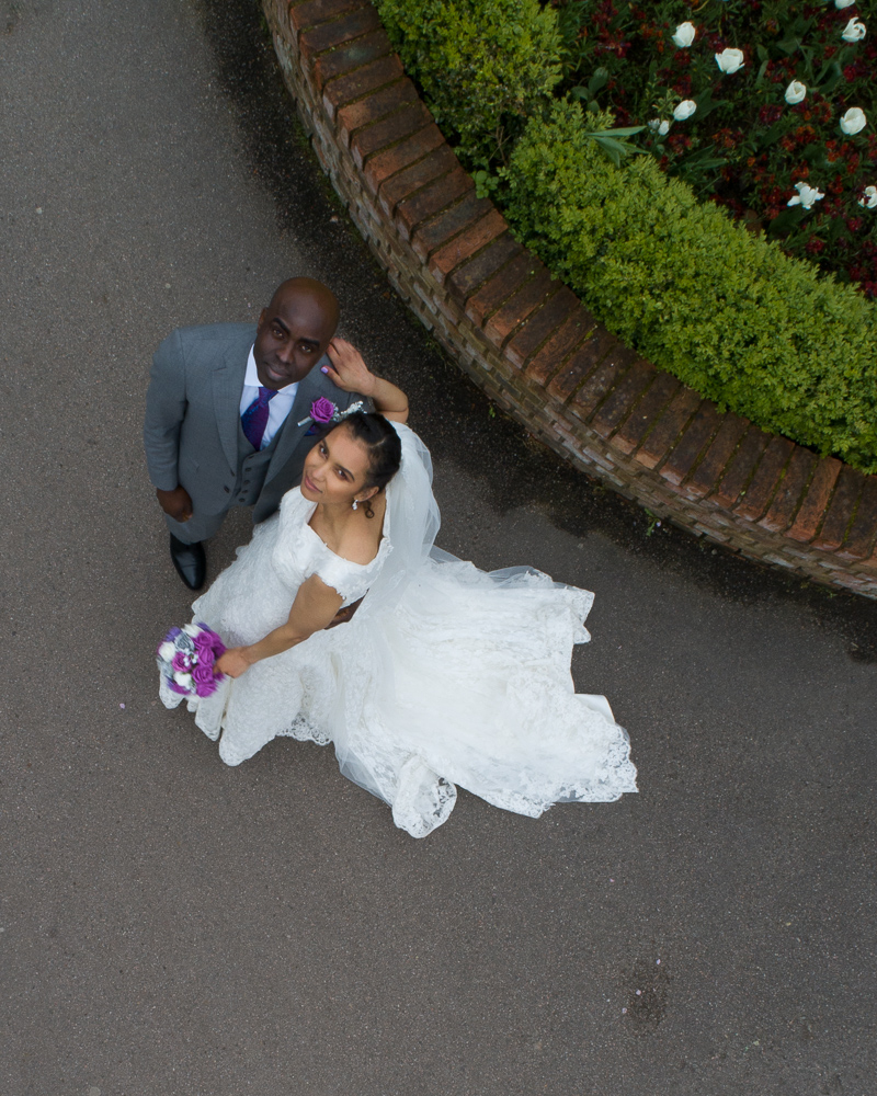 The bride and groom look lovely when shot from above by drone on their wedding day