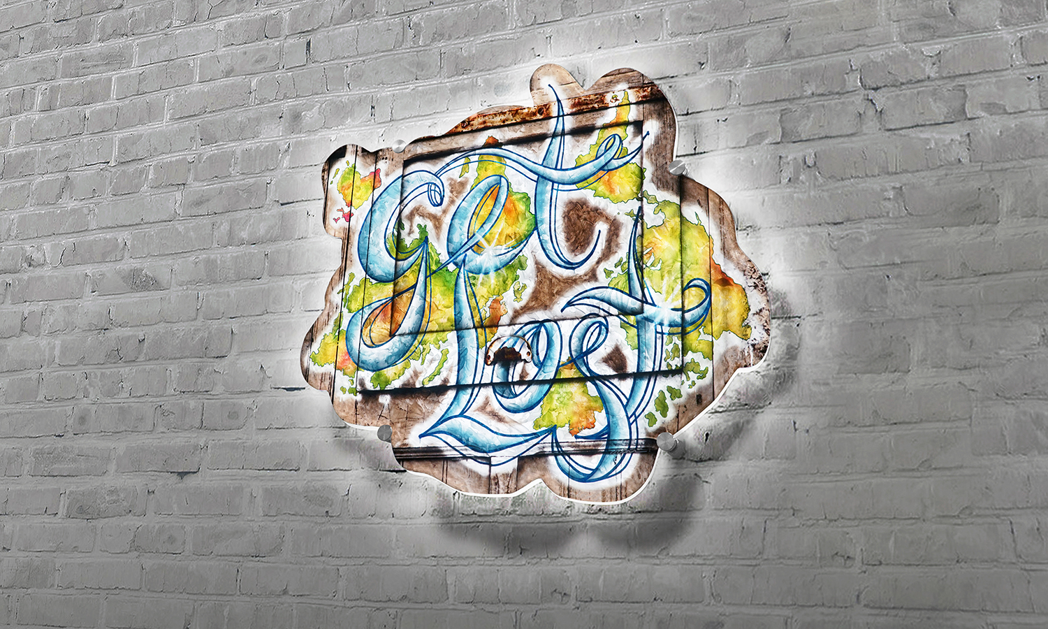 "get lost  / 36"" X 36""  Plexiglass with black & white photograph, digitally created graffiti and acrylic paint applied to the reverse side. Die-cut and backlit by custom LED panel with remote control and dimmer."