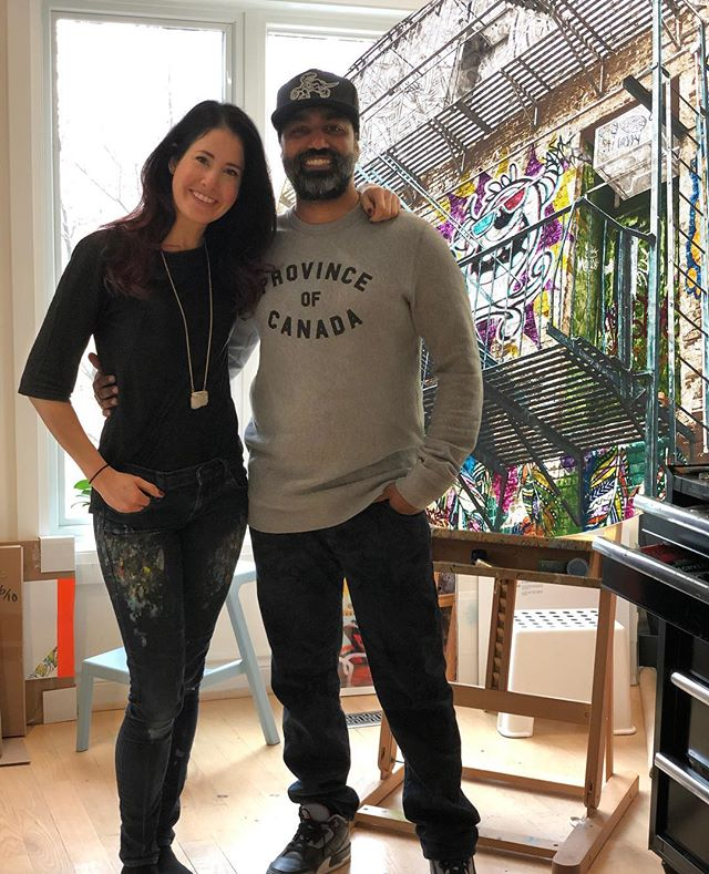 Love when @mochafrap comes to visit the studio! I spend so much time listening to him as I work (longer podcasts please?), but the real thing is definitely better. Missed the beautiful Mrs Frap though ❤️ . . Btw it's 'may-o-naise'. . . #funvisitors #artiststudio #photography #contemporaryart #acrylicpainting #streetphotography #graffiti #streetart #the6ix #tdot